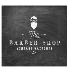 Vintage barber shop design element on chalkboard vector