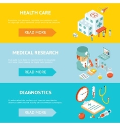 Mobile health care and medical research banners vector