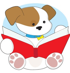 Cute puppy reading vector