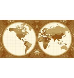 World map with retro-styled hemispheres vector