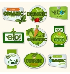 Bio organic life badges vector