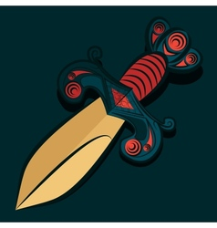 Sharp dagger with barbed wire vector