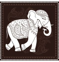Elephant indian style decorative vector
