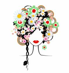 Floral hairstyle woman vector