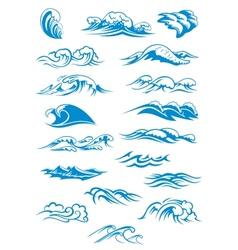 Blue breaking ocean waves vector