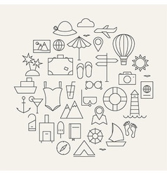 Summer holiday line travel icons set circular vector