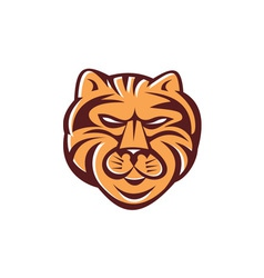 Tiger head front retro vector
