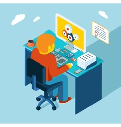 Workplace working at computer flat 3d isometric vector