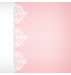 Lace and pearl border on pink background vector