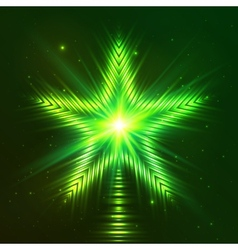 Green shining five-pointed star vector