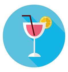 Flat cocktail with orange slice and tubule circle vector