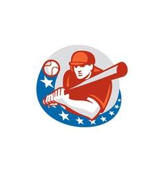 Baseball player batter stars circle retro vector