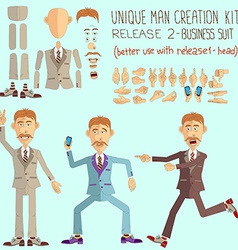 Cartoon face and body elements vector
