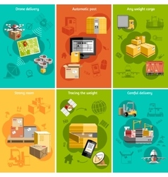 New logistics flat icons composition poster vector