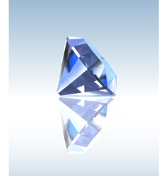 Blue diamond with reflection vector
