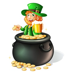 A pot with coins and an old man with a mug of beer vector