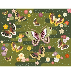 Butterflies in the japanese style vector