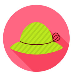 Flat fashion hat circle icon with long shadow vector