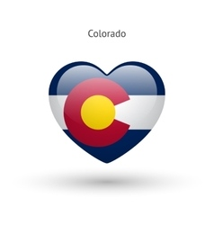 Love colorado state symbol heart flag icon vector