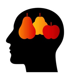 Silhouette of a head with fruits vector