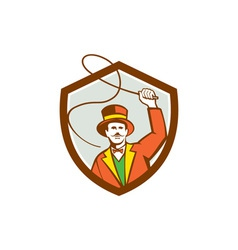 Circus ring master bullwhip shield retro vector