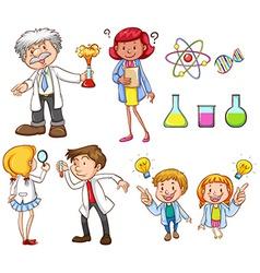 People doing different science activities vector