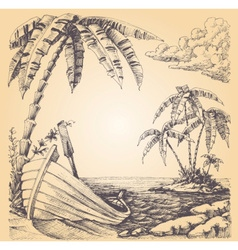 Boat on sea shore tropical island and palm tree vector