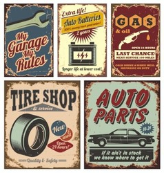 Vintage car signs vector