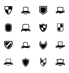 Black icon shield icons set vector