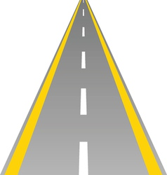Road with yellow and white line vector