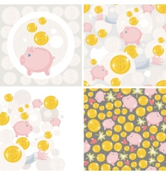 Set of four with saving pig vector