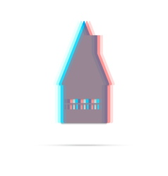 Home flat anagliph icon with shadow vector