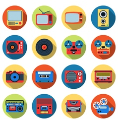 Retro electronic icons vector