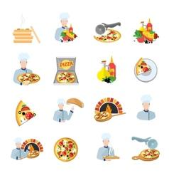 Pizza maker icon set vector