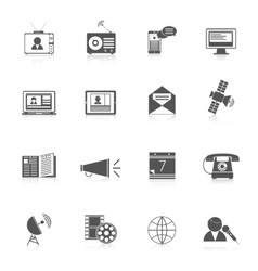 Media icons black set vector