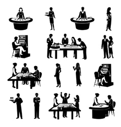 People in casino black vector