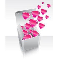 Gray box with hearts vector