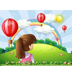 A young lady watching the floating balloons and vector