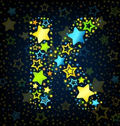 Letter k cartoon star colored vector