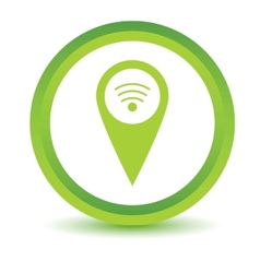 Green wi-fi pointer icon vector