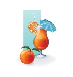 Orange in goblet of juice cocktail smoothie vector