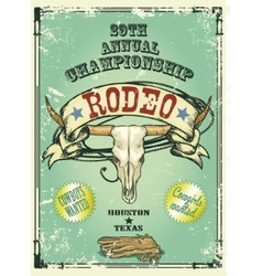 Retro style rodeo poster vector