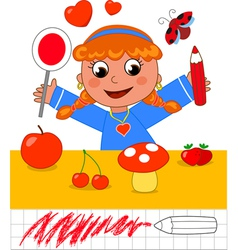 Color game girl with red objects vector