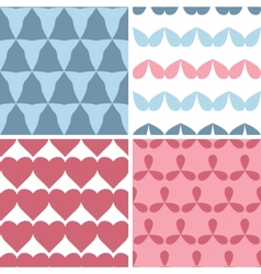 Four matching bold shapes seamless patterns vector