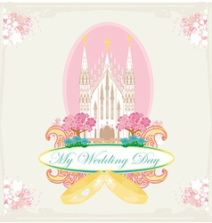 Vintage wedding card with rings and elegant vector
