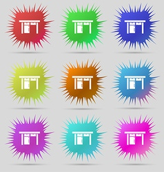 Table icon sign a set of nine original needle vector