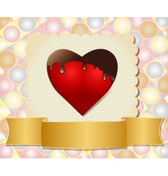 Chocolate dipped heart vector