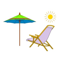 Beach chaise lounge umbrella and sun vector