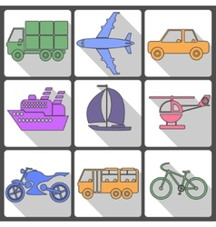 Transport icons collection vector