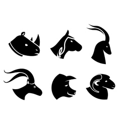 Set of black animal head icons vector